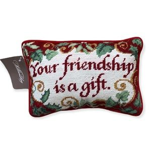 """Williamsburg needlepoint """"your friendship is a gift """" pillow"""